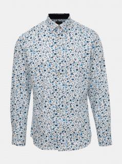 Bílá květovaná slim fit košile Selected Homme One New