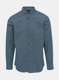 Tmavě modrá vzorovaná slim fit košile Selected Homme Caro