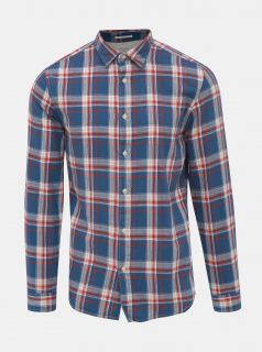 Modrá kostkovaná slim fit košile Selected Homme Wood