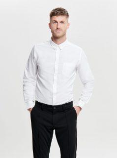 Bílá slim fit košile ONLY & SONS Alvaro