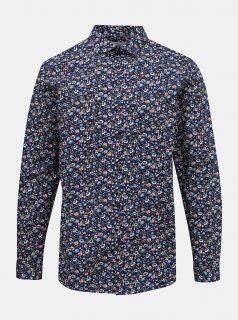 Tmavě modrá květovaná slim fit košile Jack & Jones Blackpool