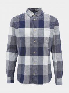 Bílo-modrá kostkovaná slim fit košile Jack & Jones Indie