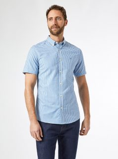 Světle modrá kostkovaná slim fit košile Burton Menswear London