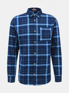 Tmavě modrá kostkovaná košile Jack & Jones Jeff