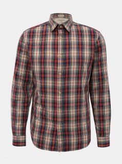 Červeno-béžová kostkovaná slim fit košile Selected Homme Carl