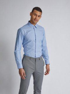 Světle modrá vzorovaná tailored fit košile Burton Menswear London
