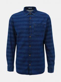 Tmavě modrá pruhovaná džínová košile Jack & Jones Jaques