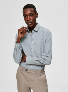 Šedozelená slim fit košile s příměsí lnu Selected Homme Linen