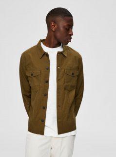 Khaki lněná košile Selected Homme