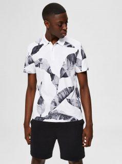Bílé vzorované polo triko Selected Homme