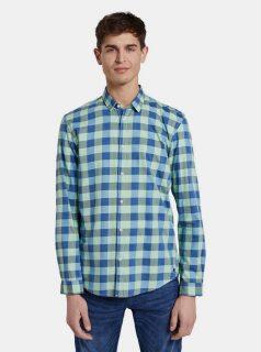 Modro-zelená pánská kostkovaná košile Tom Tailor Denim