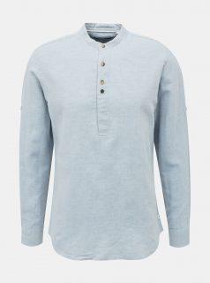 Světle modrá lněná košile se stojáčkem Jack & Jones Donald