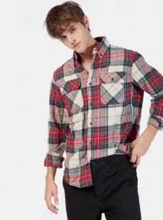 Bílo-červená pánská kostkovaná košile Alcott