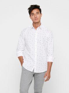 Bílý vzorovaná košile ONLY & SONS Sane