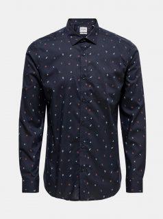 Tmavě modrá vzorovaná košile ONLY & SONS Sane