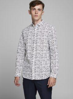 Šedo-bílá vzorovaná košile Jack & Jones