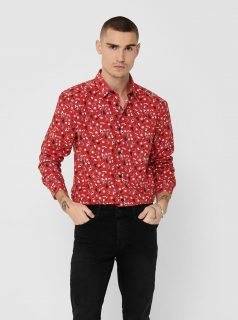 Červená košile s vánočním motivem ONLY & SONS Xmas