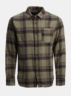 Khaki károvaná košile Jack & Jones