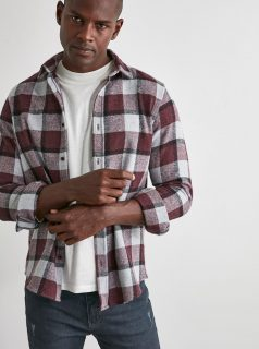 Vínovo-šedá pánská kostkovaná košile Trendyol