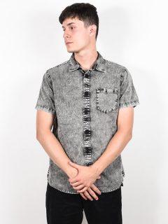 RVCA GREYSON black košile pro muže krátký rukáv – šedá