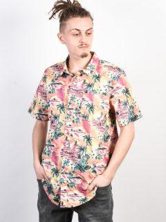 Billabong SUNDAYS FLORAL CORAL košile pro muže krátký rukáv – korálová