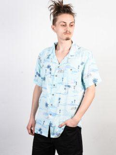 Billabong VACAY PRINT MINT košile pro muže krátký rukáv – modrá