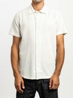 RVCA HI GRADE FLECK ANTIQUE WHITE košile pro muže krátký rukáv – bílá
