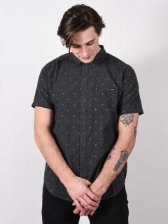 Billabong ALL DAY JACQUARD black košile pro muže krátký rukáv – šedá