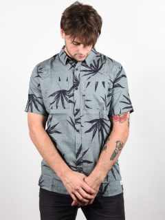 Quiksilver DELI PALM CHINOIS GREEN DELI PALM košile pro muže krátký rukáv – šedá