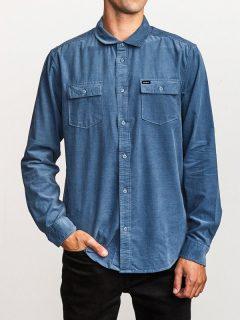 RVCA FREEMAN CORD CHINA BLUE pánské košile s dlouhým rukávem – modrá