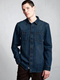 Element PACE DENIM BLACK OVERDYE pánské košile s dlouhým rukávem – modrá