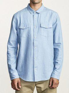 RVCA NAKAMA II DENIM pánské košile s dlouhým rukávem – modrá