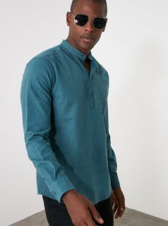 Modrá pánská košile Trendyol