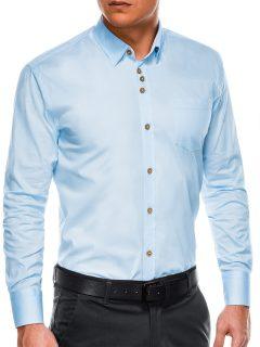 Pánská elegantní košile s dlouhým rukávem K302 – blankytná