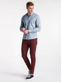 Pánská košile s dlouhým rukávem K488 – nebesky modrá