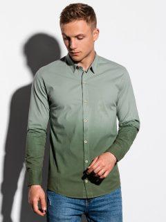 Pánská košile s dlouhým rukávem K514 – khaki