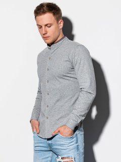 Pánská košile s dlouhým rukávem K542 – šedá