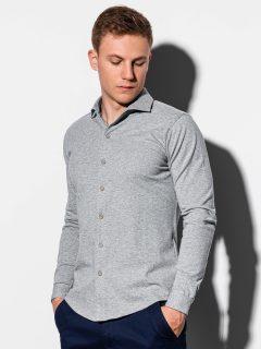 Pánská košile s dlouhým rukávem K540 – šedá