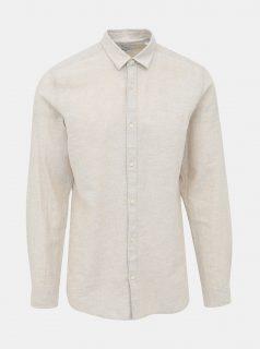Béžová slim fit košile s příměsí lnu ONLY & SONS Caiden