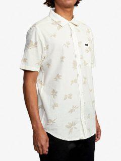 RVCA ENDLESS SEERSUCKER ANTIQUE WHITE košile pro muže krátký rukáv – bílá
