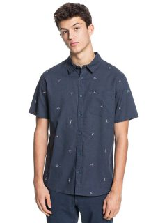 Quiksilver YACHT ROCK INDIA INK YACHT ROCK košile pro muže krátký rukáv – modrá