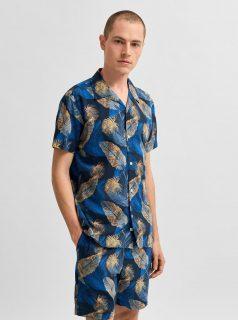 Modrá vzorovaná košile s krátkým rukávem Selected Homme Joel