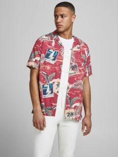 Růžová vzorovaná košile s krátkým rukávem Jack & Jones Tropicana