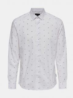 Bílá vzorovaná košile ONLY & SONS Sane
