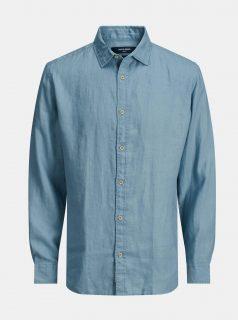 Modrá lněná košile Jack & Jones Plain