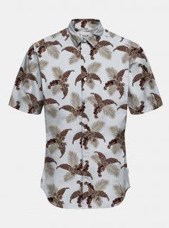 Hnědo-krémová vzorovaná košile s krátkým rukávem ONLY & SONS Kalle