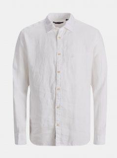 Bílá lněná košile Jack & Jones Plain