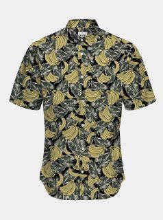 Žluto-černá vzorovaná košile s krátkým rukávem ONLY & SONS Kaspar