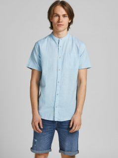 Světle modrá lněná košile s krátkým rukávem Jack & Jones Summer Kendrick Band