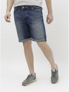 Tmavě modré džínové kraťasy s vyšisovaným efektem ONLY & SONS Ply